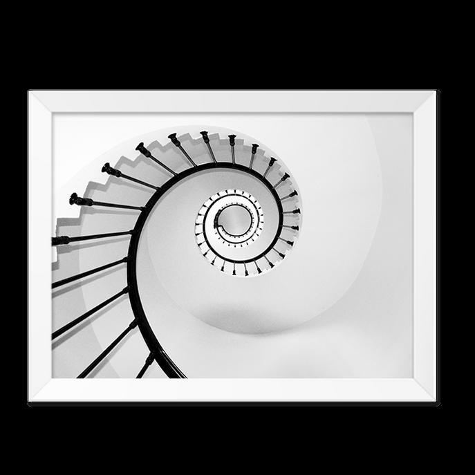 Quadro Escada Caracol Moldura Branca Lisa -30x20cm-sv