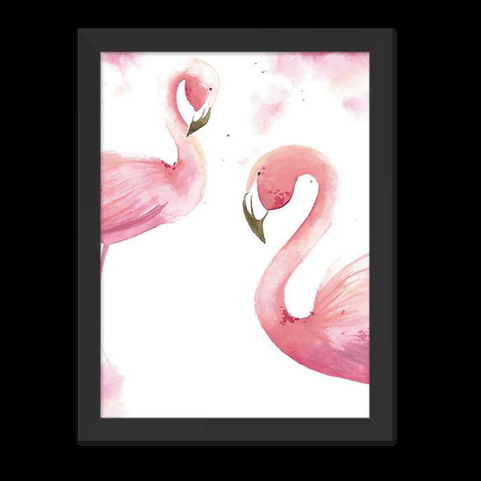 Quadro Flamingos Rosa Aquarela Moldura Preta Lisa - 30X20cm-sv
