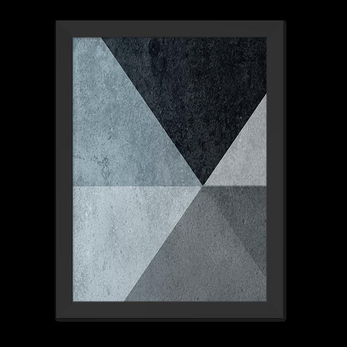 Quadro Geometrico Azul Moldura Preta Lisa 30x20cm-sv