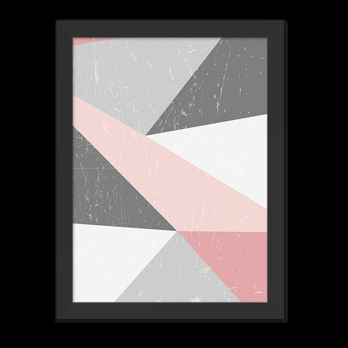 Quadro Geométrico Cinza e Rosa Moldura Preta Lisa 30x20cm-sv