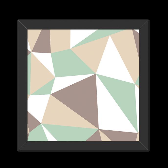 Quadro Geometrico Verde Moldura Preta Lisa - 20X20cm-sv