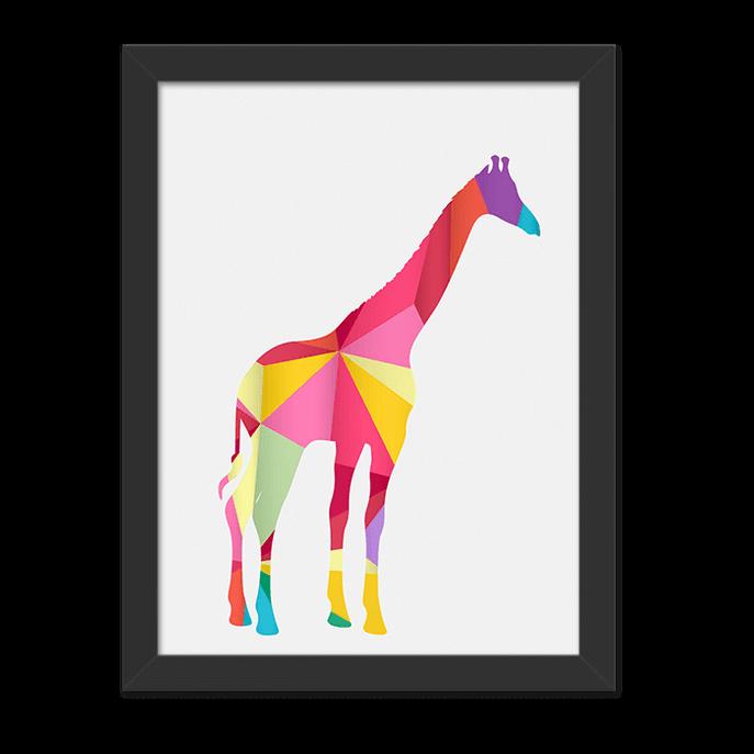 Quadro Girafa Geometrica Moldura Preta Lisa - 30X20cm-sv