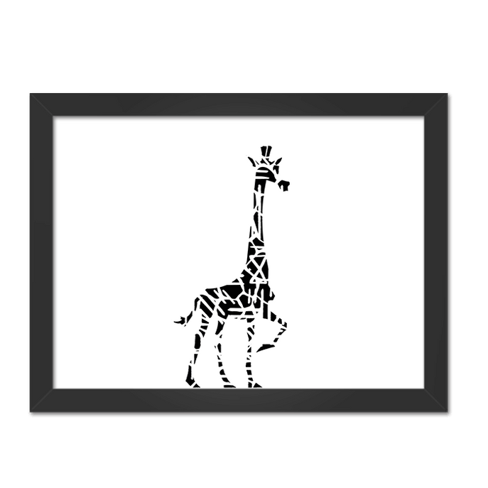 Quadro Girafa PB Moldura Preta Lisa - 30X20cm-sv