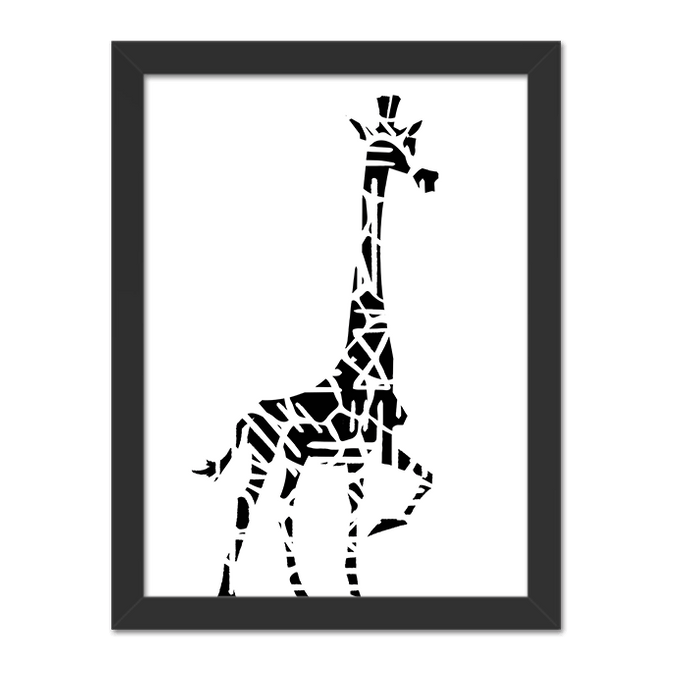 Quadro Girafa Vertical Moldura Preta Lisa - 30X20cm-sv