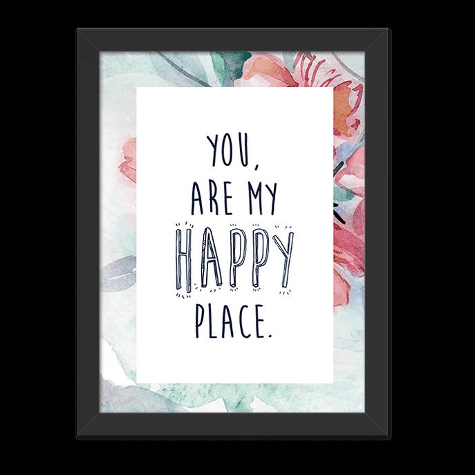 Quadro Happy Place Moldura Preta Lisa - 30x20 Cm-sv