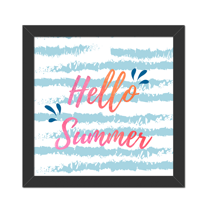 Quadro Hello Summer Moldura Preta Lisa - 20X20cm-sv