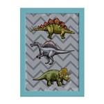 Quadro Infantil Dinossauro Cinza Moldura Azul 22x32