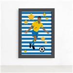 Quadro Infantil Futebol Gol Jogador Azul 33x43 Moldura Preta