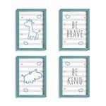 Quadro Infantil Girafa e Hipopótamo Azul Kit 4un Moldura Azu