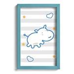 Quadro Infantil Hipopótamo Azul 22x32cm Moldura Azul