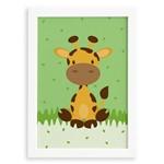 Quadro Infantil Safari Girafa Quarto Moldura Branca 33x43cm