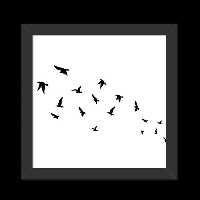 Quadro Little Birds Moldura Preta Lisa - 20X20cm-sv