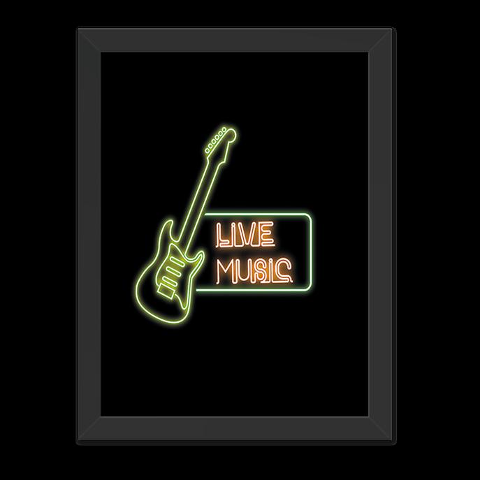 Quadro Live Music Moldura Preta Lisa - 30x20 Cm-sv