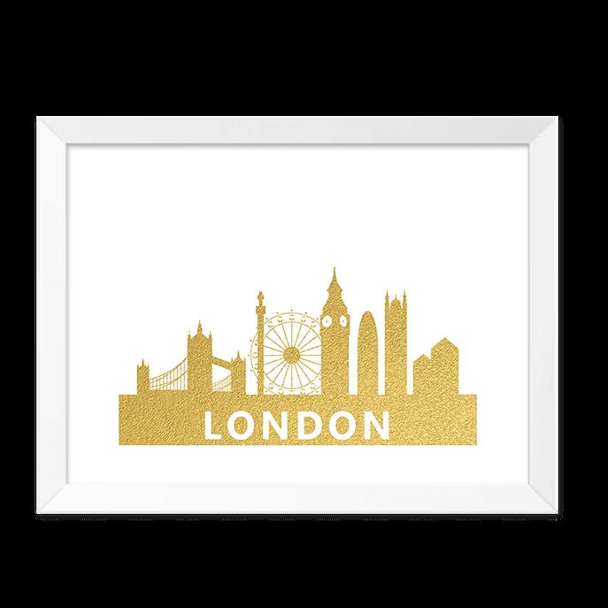 Quadro London Dourado Moldura Branca Lisa 30x20cm-sv