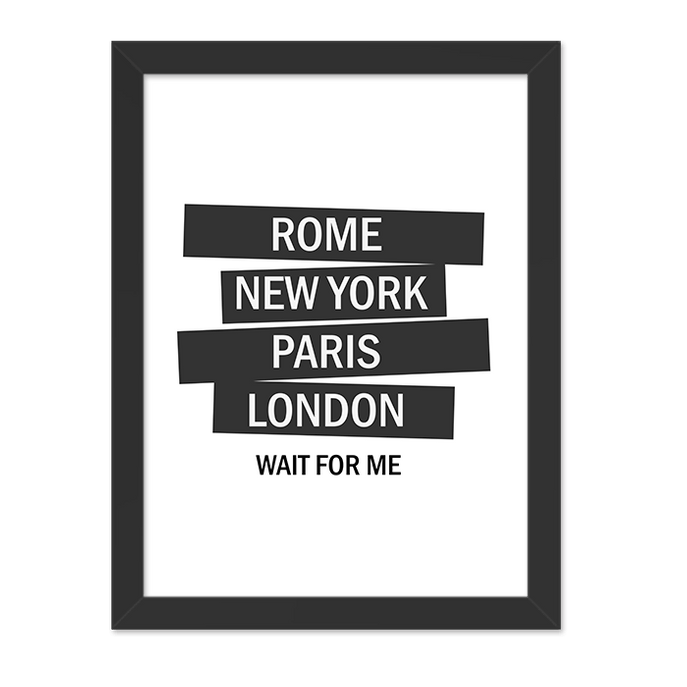Quadro London Wait For me Moldura Preta Lisa 30x20cm-sv