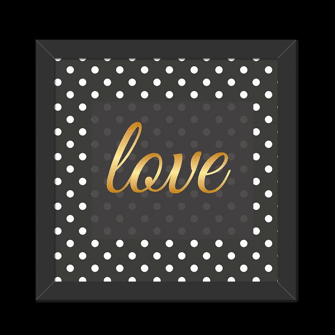 Quadro Love Dourado Moldura Preta Lisa - 20X20cm-sv