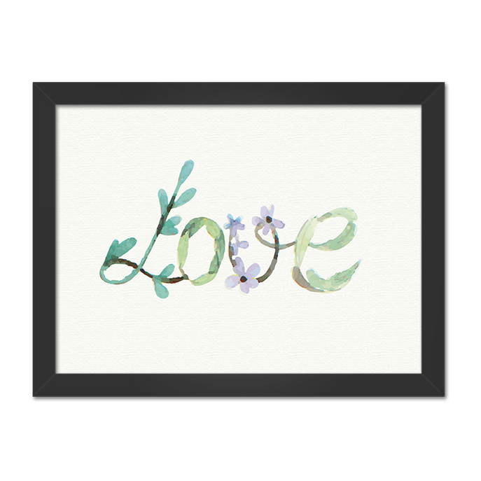 Quadro Love Florido Horizontal Moldura Preta Lisa - 30x20 Cm-sv