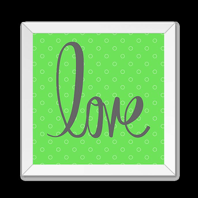 Quadro Love Verde Moldura Branca Lisa -20X20cm-sv