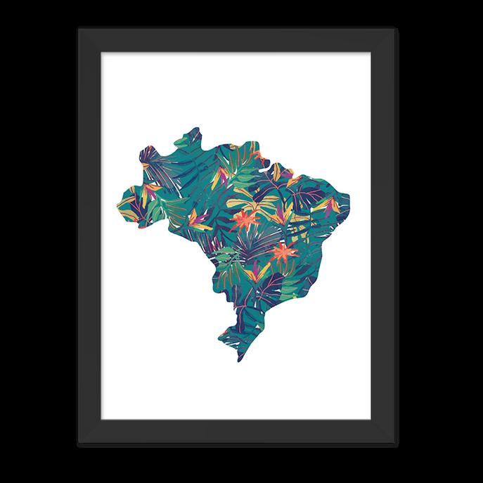 Quadro Mapa do Brasil Moldura Preta Lisa 30x20cm-sv