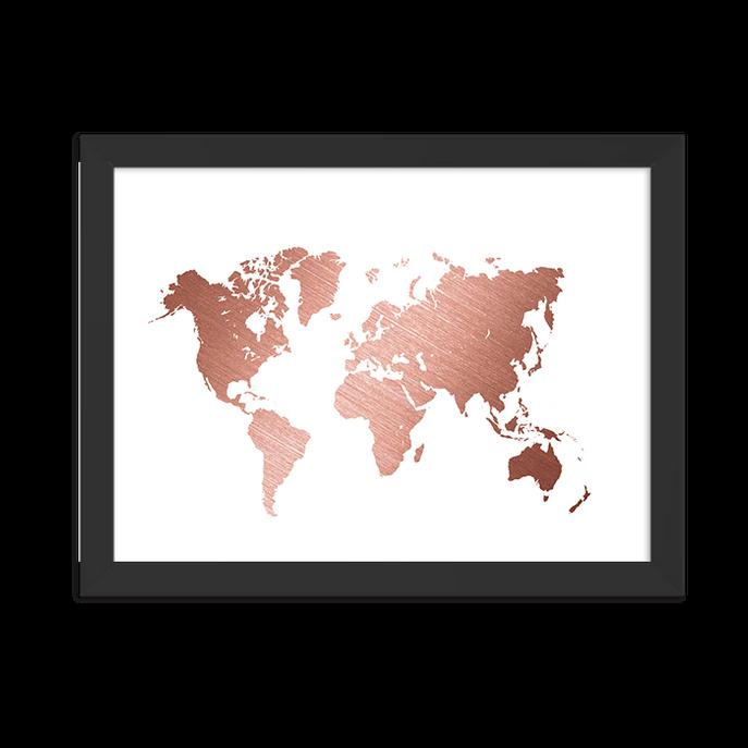 Quadro Mapa Rose Moldura Preta Lisa - 30x20 Cm-sv
