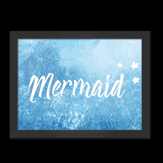 Quadro Mermaid Moldura Preta Lisa - 30x20 Cm-sv