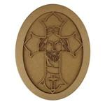 Quadro Moldura em MDF Oval Crucifixo 35,5x27cm - Palácio da Arte
