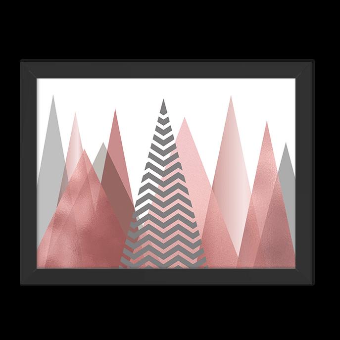 Quadro Montanhas Rose Moldura Preta Lisa 30x20cm-sv