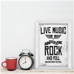 Quadro Musica Rock Live Music 22x32 Moldura Branca