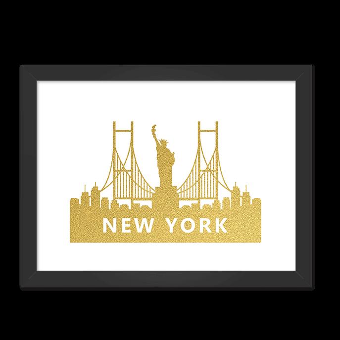 Quadro New York Dourado Moldura Preta Lisa 30x20cm-sv