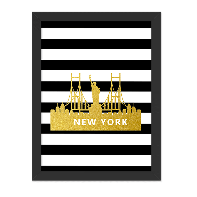 Quadro New York Listrado Vertical Moldura Preta Lisa 30x20cm-sv