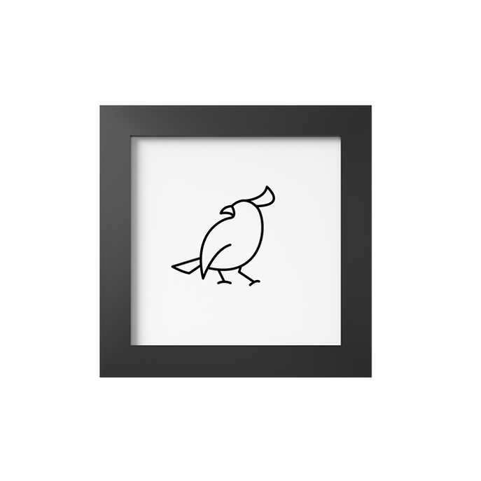 Quadro Pássaro Silhueta Moldura Preta Lisa - 10X10cm-sv