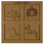 Quadro Pássaros e Molduras em MDF 3D 20X20cm - Palácio da Arte
