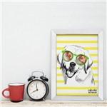 Quadro Sala Cachorro Labrador 22x32cm Moldura Branca