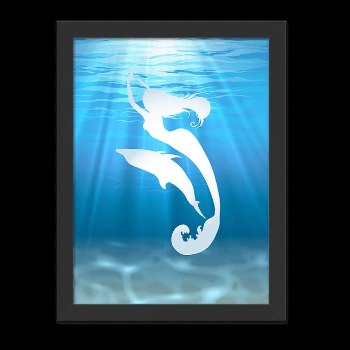 Quadro Sereia e Golfinho Moldura Preta Lisa - 30x20 Cm-sv