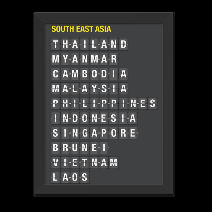 Quadro South East Ásia Moldura Preta Lisa - 30x20 Cm-sv