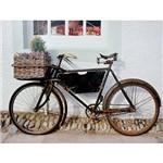 Quadro Tela Impressa Bike Preta com Flores 85x113x3cm - Fullway