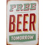 Quadro Tela Impressa Free Beer Tomorrow 70x50x4cm - Fullway