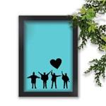 Quadro The Beatles Pose Fundo Azul Coração Preto