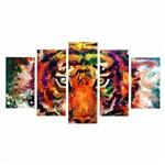 Quadro Tigre Colorido Decorativo 200x100