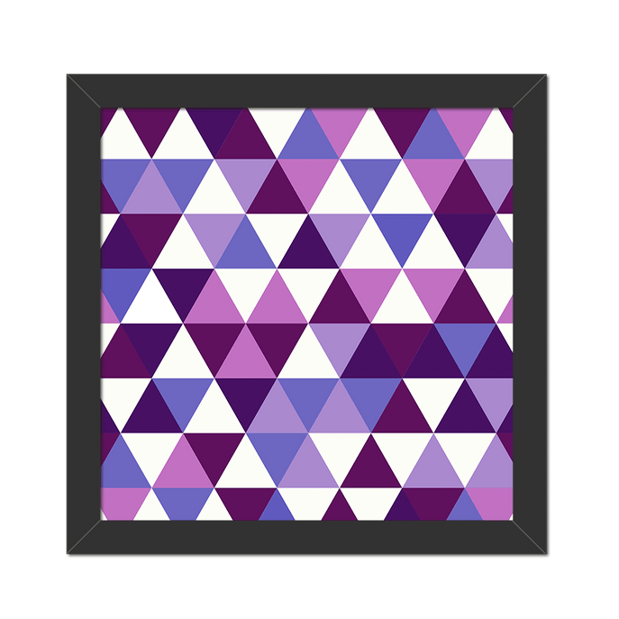 Quadro Triangulo Geometrico Moldura Preta Lisa - 20X20cm - Sv
