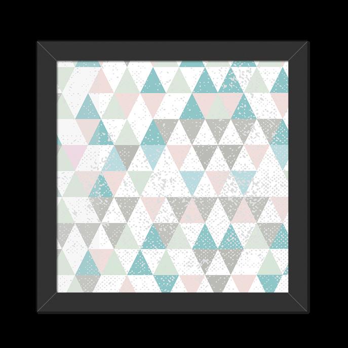Quadro Triângulos Tiffany e Rosa Moldura Preta Lisa - 20x20 Cm-sv