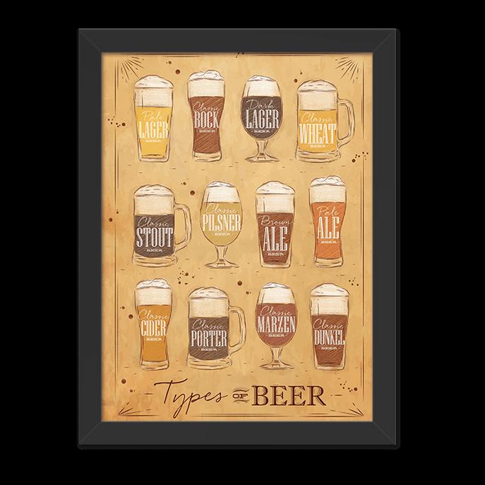 Quadro Types Of Beer Moldura Preta Lisa - 30x20 Cm-sv