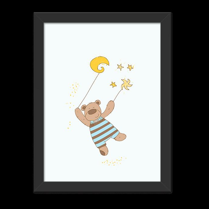 Quadro Urso na Lua Moldura Preta Lisa - 30X20cm-sv