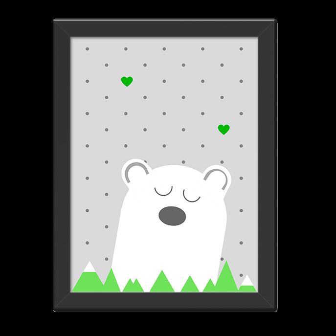 Quadro Urso na Montanha Verde Moldura Preta Lisa - 30X20cm-sv