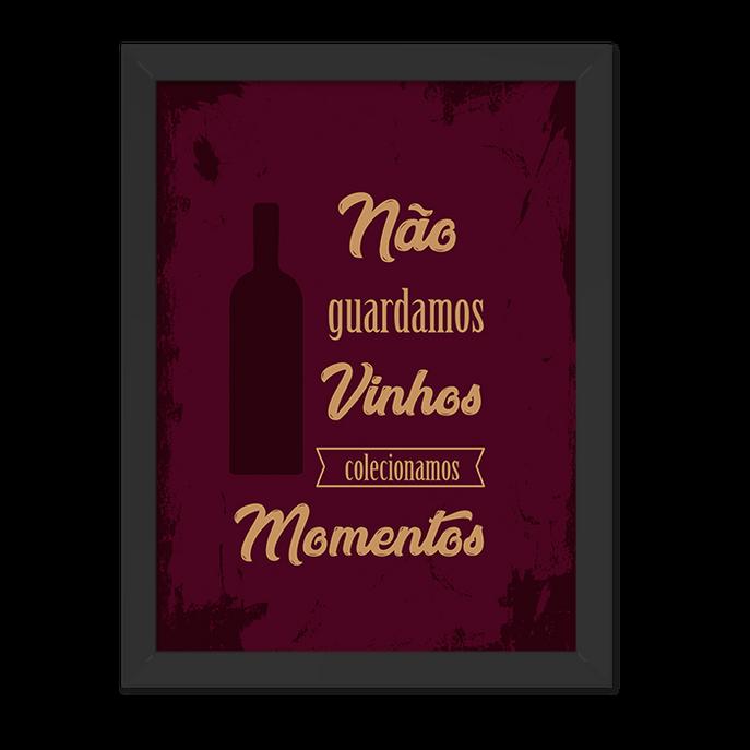 Quadro Vinhos Moldura Preta Lisa 30x20cm-sv