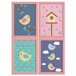 Quadros Decorativos Infantil Pássaros Moldura Rosa 4un 22x32