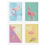 Quadros Flamingos Moldura Branca 4un 22x32cm
