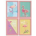Quadros Flamingos Moldura Rosa 4un 22x32cm