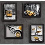 Quadros Paris New York Cidades Amarelo 22x32cm Moldura Preta 4 Un