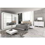 Quarto Casal Completo Lopas Toronto New C/3 Pçs (Roupeiro+Cabeceira C/Criado+Cômoda) Kit QC02-Branco